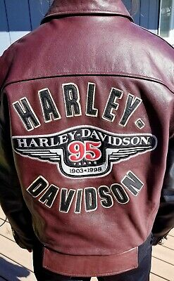 1998 Bomber (HARLEY DAVIDSON 95th Anniversary 1998 Bomber Leather Jacket Mens S)
