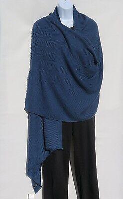 100% Cashmere Shawl/Wrap Hand Loomed Nepal Solid Grayish Blue 4 Ply Herringbone