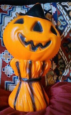 Vintage 1969 Empire Plastic Pumpkin Jack O Lantern Blow Mold Hay Stack Scarecrow