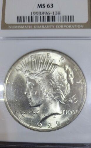 1922 PEACE DOLLAR MS 63 - $50.00