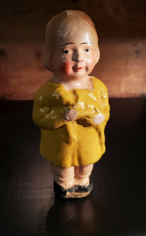 """Antique  Paper Mache Girl 5-1/2""""~ Germany"""