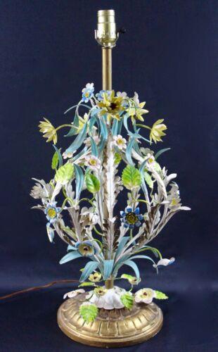 LARGE  ITALY TOLEWARE MULTICOLORED ART METAL LAMP VINTAGE  1960