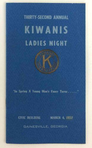 Kiwanis Club Ladies Night Program Menu 1957 Gainesville GA Spring Key Club