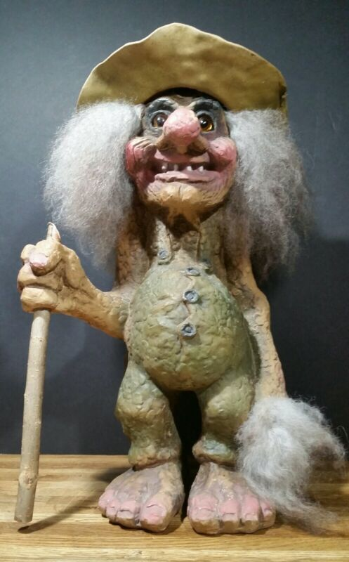 Large Nyform Troll With Hat And Walking Stick 17""