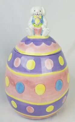 Easter Egg Ceramic Cookie Jar With Bunny Rabbit Container Canister Cooks Club (Cooks Club Canister)