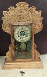 Antique WATERBURY Mantel Clock w Alarm GINGERBREAD Wooden Case 8 Day Harlem RUNS