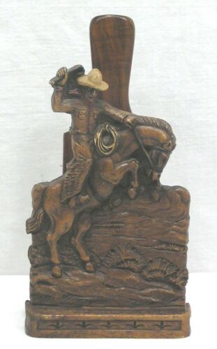 Vintage Syroco Wood Western Cowboy Brush and Holder 1940s-50s