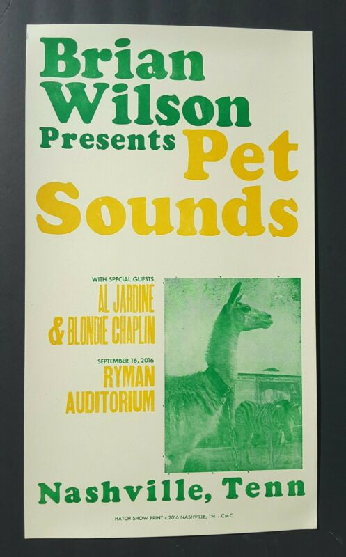 BRIAN WILSON Hatch Show Print RYMAN Nashville PET SOUNDS 2016 CONCERT Gig POSTER