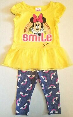 Minnie Mouse Toddler Girl Outfit Set Shirt and Leggings Yellow Pink Rainbow 2T (Minnie Mouse Outfit 2t)