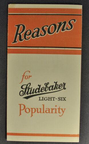 1921 Studebaker Light Six 6 Touring Car Small Brochure Excellent Original 21