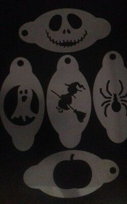 5 x Halloween face painting stencils   pumpkin ghost witch spider scary face - Face Painting Spider Halloween