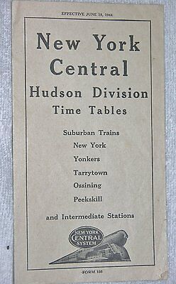 New York Central Railroad Timetable June 18, 1944 Serving the Hudson Division