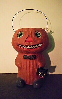 Vtg Halloween Style Paper Mache Pumpkin Man Lantern Black Cat Bruce Elsass NWT