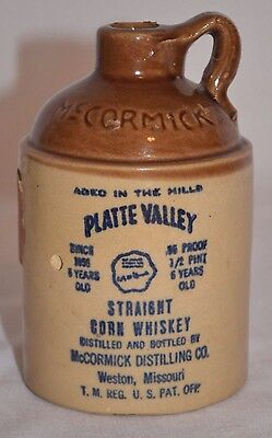 Vintage 1969 McCormick Platte Valley Straight Corn Whiskey Stoneware Jug Bottle