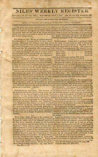 1821 NILES WEEKLY NEWSPAPER REGISTER BALTIMORE MD 12PG
