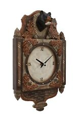 Black Bear Wood Carving 3D Wall Clock Cabin Rustic Decor