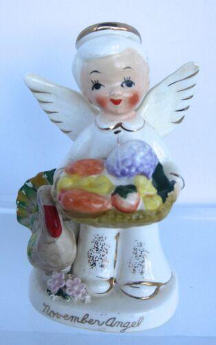 VTG Napco NOVEMBER Birthday Boy Angel A1927 with National Potteries Foil Label