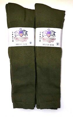 USOA 6-PR MILITARY ISSUE OLIVE OTC 2.5% SILVER ANTIBACTERIAL SZ L FITS 8-12 SHOE