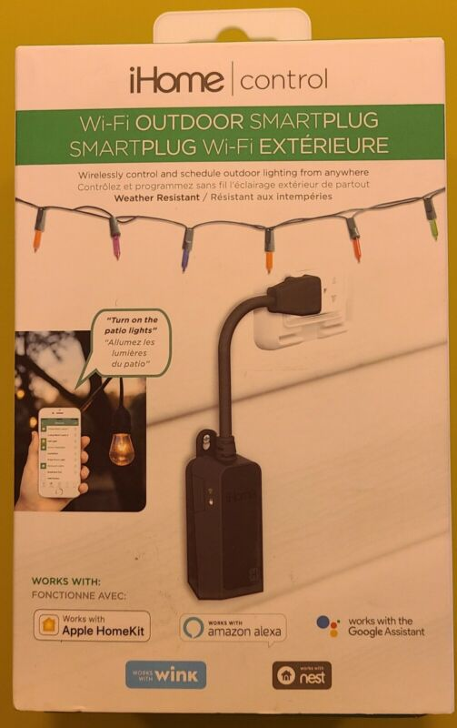 iHome Wi-Fi Outdoor SmartPlug Black; iSP100B - New Sealed Box