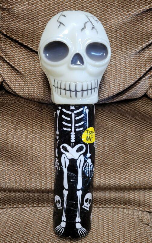 VTG Halloween Light Up Skull Safety Light Up Flashlight Rare Skeleton Blow Mold