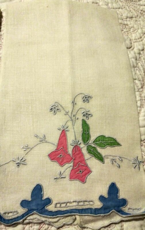 """Beautiful Madeira Floral Applique & Embroidered Linen Hand Towel 22""""x13"""" # 2"""