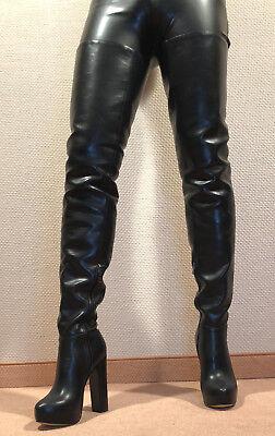 Sexy Boots (Gr.44 TOP ! Exklusiv Sexy Damen Schuhe Overknee Stiletto Stiefel Männer Boots D4)