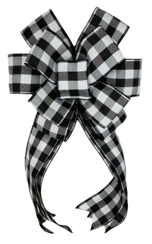 Black White Buffalo Plaid Check Bow Wreath Lantern Swag Home Decor