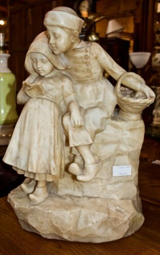 Carved Alabaster Statue -Dutch Children - FROM HOLLAND