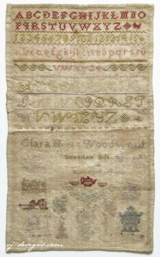 1875 Clara Helen Woodward Streatham Hill England schoolgirl sample silk on linen