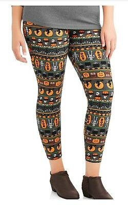 Plus Size Halloween-kostüme 22-24 (Faded Glory Plus Size HALLOWEEN Leggings 3X 22/24 Womens Pumpkins Softbrush NWT)