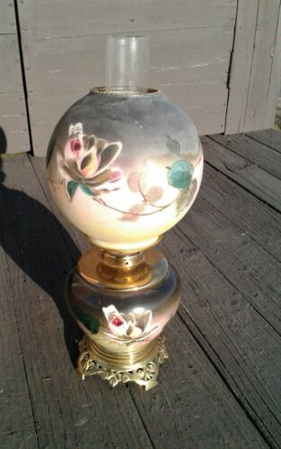 Antique McKenney Floral GWTW Green Globe Parlor or Banquet Table Oil Lamp