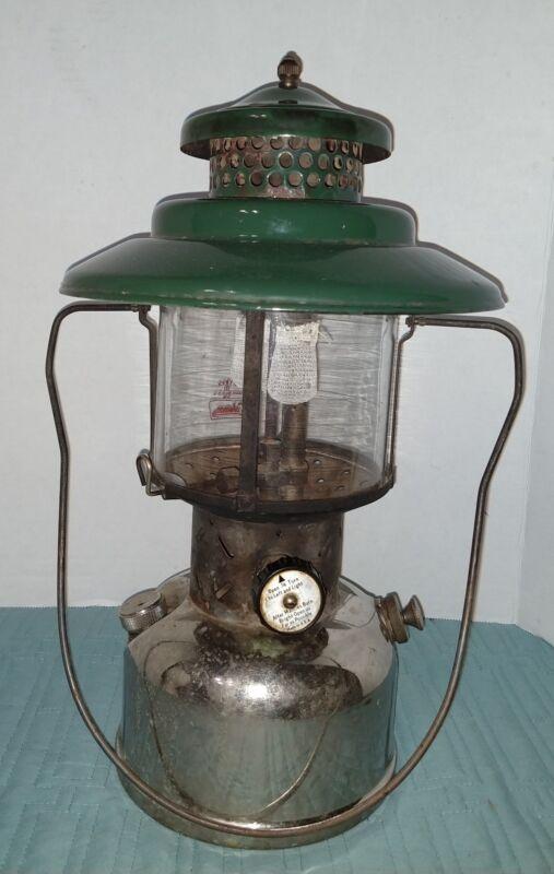 Vintage Coleman Big hat Lantern Green Top Pyrex globe Double Mantle