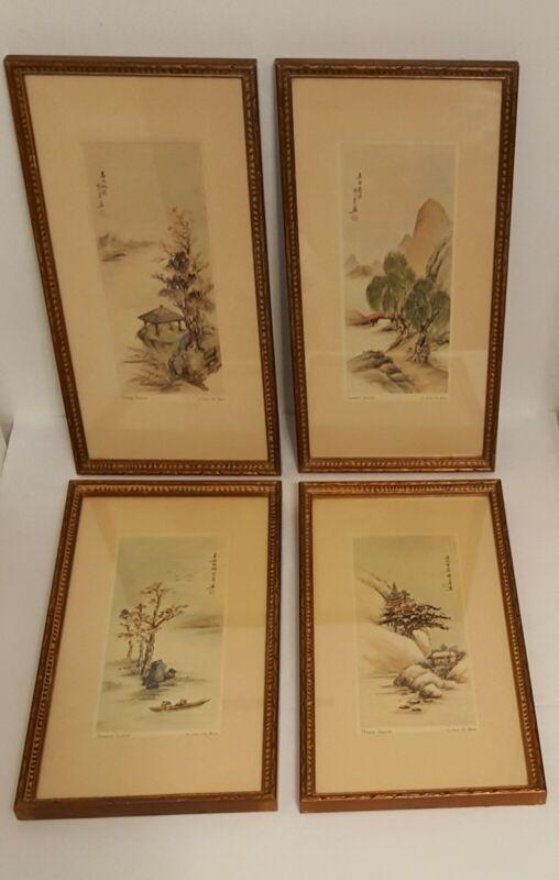 "4 Ling-Fu Yang Four Seasons Landscape Matted Framed Lithographs 8"" x 14.5"" Frame"