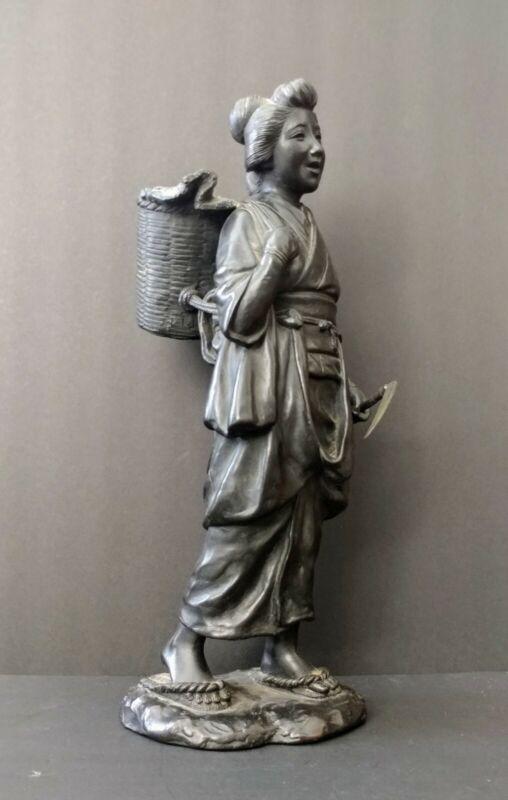 "Antique Heavy Japanese Cast Bronze Farmer Woman w Basket Statue 15 1/2"" T NR"