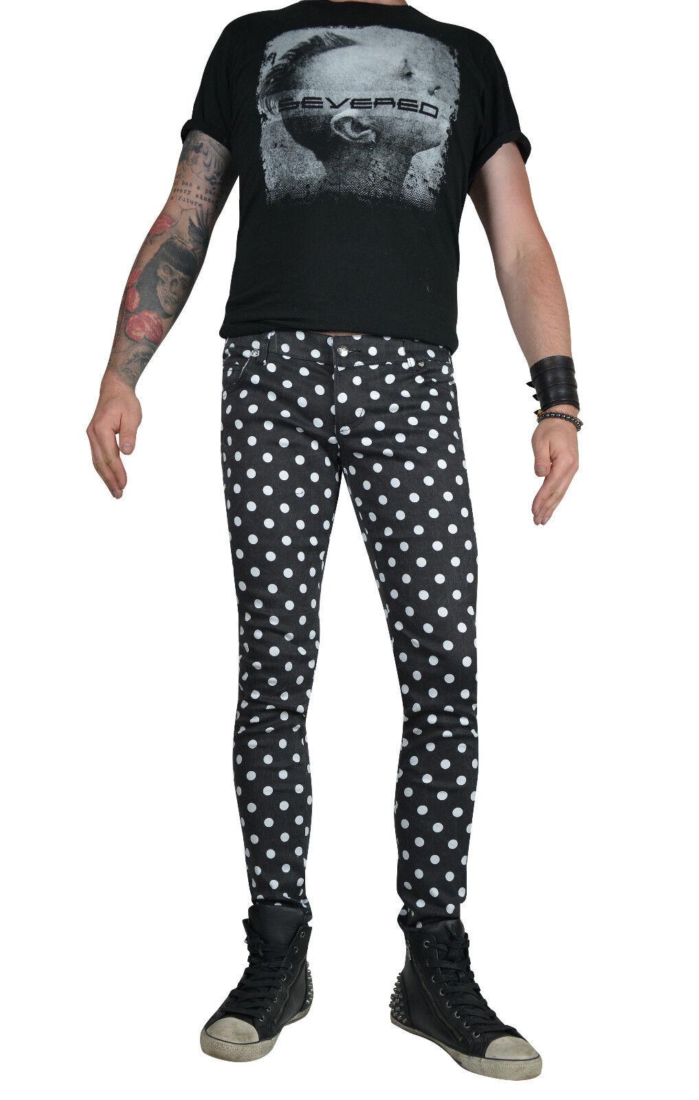 TRIPP BLACK WHITE DOTS EXPLOITED SKINNY JEANS ROCKER UNISEX FIT PUNK ROCK PANTS Clothing, Shoes & Accessories