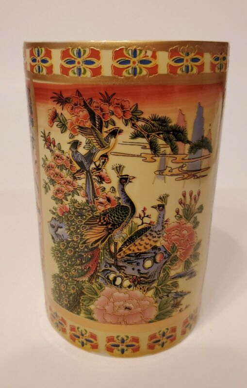 Asian Tea Mug Cup Pot Birds Lotus Flowers Cranes Geisha Girls Landscape Scenes