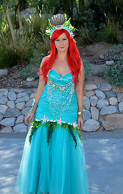 Women Ariel Mermaid Costume Sea OOAK Halloween Sz L 12 Turquoise Cosplay Unique](Ariel Costume For Women)