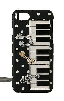 NEW $400 DOLCE & GABBANA Phone Case Black Leather Music Piano Applique iPhone7