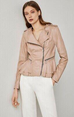 $595 BCBG MAXAZRIA Size M Valentina 100% Lamb Leather Peplum Pink Moto Jacket