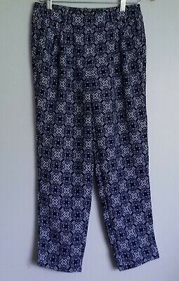 J.Crew Factory Womens Pleated Patterned Pants Blue White Slim Cut Size 0