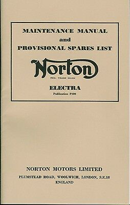 Norton Electra Maintenance Manual and Provisional Spares List Reprinted in UK