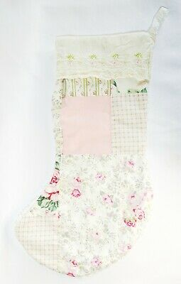 Upcycled Christmas Stocking from Old Quilt Embroidered Rose Trim Chenille Back