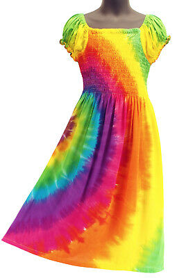 Girls Rainbow Tie Dye Cap Sleeve Sundress Summer Beachwear  NEW Girls 4 6 8 10