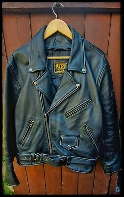 JTS Leather Biker Size 42 L / XL Jacket Motorcycle Vintage Rock And Roll A* Cond