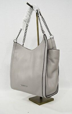NWT Michael Kors Newbury Medium Chain Leather Shoulder Tote in Pearl Grey