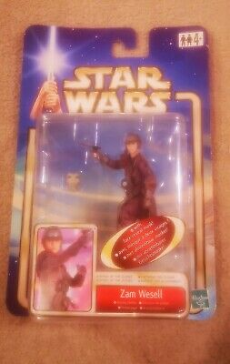 Star Wars Zam Wesell Saga AOTC Blue Carded Action Figure NEW Euro Card
