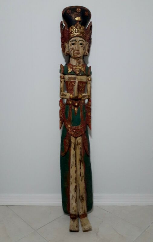 Antique Asian Wood Wall Hanging Figure Polychrome Javanese Balinese Deitie