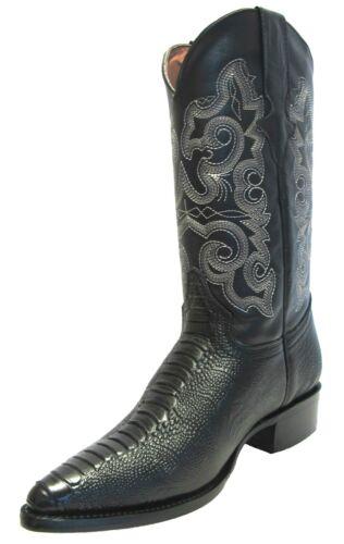 Mens, New, Leather, Ostrich, Leg, Design, Rodeo, Western, Cowboy, boots, J, Toe, Black
