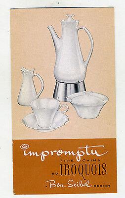 Ben Seibel Impromptu Iroquois Advertising Brochure Mid Century Dinnerware 1950s