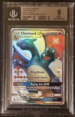 Shiny Charizard GX SV47/SV94 Hidden Fates Pokemon Beckett 9 - BGS 9 MINT